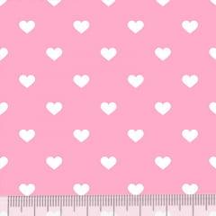 Tecido Tricoline Mista Pop Textoleen Corações Fundo Rosa Claro - 50% Algodão 50% Poliéster - Largura 1,38m