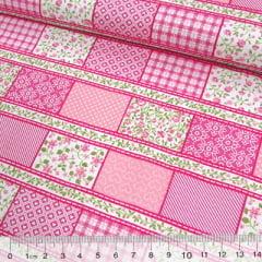 Tecido Tricoline Mista Pop Textoleen Faixas Patchwork Composê - Rosa - 50% Algodão 50% Poliéster - Largura 1,38m