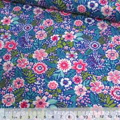 Tecido Tricoline Mista Pop Textoleen Floral Colores - Azul - 50% Algodão 50% Poliéster - Largura 1,38m