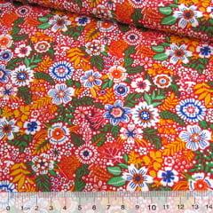Tecido Tricoline Mista Pop Textoleen Floral Colores - Laranja - 50% Algodão 50% Poliéster - Largura 1,38m