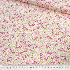 Tecido Tricoline Mista Pop Textoleen Floral Jardim Colorido - Rosa - 50% Algodão 50% Poliéster - Largura 1,38m