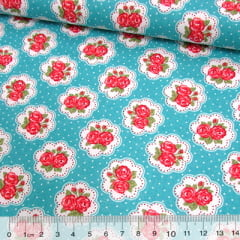 Tecido Tricoline Mista Pop Textoleen Floral Lindsay Poá - Turquesa - 50% Algodão 50% Poliéster - Largura 1,38m