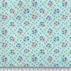 Tecido Tricoline Mista Pop Textoleen Floral Mini Buquê - Azul - 50% Algodão 50% Poliéster - Largura 1,38m