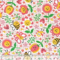 Tecido Tricoline Mista Pop Textoleen Jardim Alegria - Fundo Xadrez Rosa - 50% Algodão 50% Poliéster - Largura 1,38m