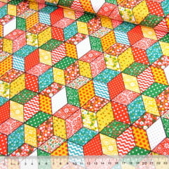Tecido Tricoline Mista Pop Textoleen Patch Cubos Coloridos - Laranja - 50% Algodão 50% Poliéster - Largura 1,38m