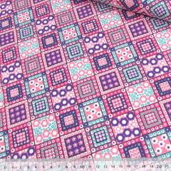 Tecido Tricoline Mista Pop Textoleen Patch Shine On - Rosa - 50% Algodão 50% Poliéster - Largura 1,38m