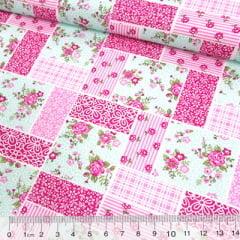 Tecido Tricoline Mista Pop Textoleen Patchwork Floral Clássico - Lilás - 50% Algodão 50% Poliéster - Largura 1,38m