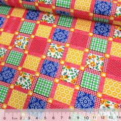 Tecido Tricoline Mista Pop Textoleen Patchwork Window - Vermelho - 50% Algodão 50% Poliéster - Largura 1,38m