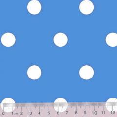 Tecido Tricoline Mista Pop Textoleen Poá Bolas G - Azul Claro c/ Branco - 50% Algodão 50% Poliéster - Largura 1,38m