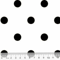 Tecido Tricoline Mista Pop Textoleen Poá Bolas G - Branco c/ Preto - 50% Algodão 50% Poliéster - Largura 1,38m