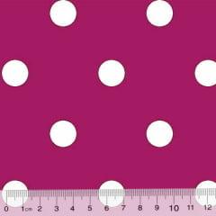 Tecido Tricoline Mista Pop Textoleen Poá Bolas G - Rosa Pink c/ Branco - 50% Algodão 50% Poliéster - Largura 1,38m
