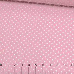 Tecido Tricoline Mista Pop Textoleen Poá M Fundo Rosa Claro - 50% Algodão 50% Poliéster - Largura 1,38m