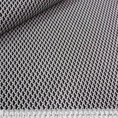 Tecido Tricoline Mista Pop Textoleen Dimensional - Preto e Branco - 50% Algodão 50% Poliéster - Largura 1,38m