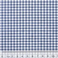 Tecido Tricoline Mista Pop Textoleen Xadrez - Azul Marinho - 50% Algodão 50% Poliéster - Largura 1,38m