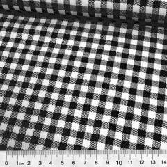 Tecido Tricoline Mista Pop Textoleen Xadrez Grande - Preto - 50% Algodão 50% Poliéster - Largura 1,38m