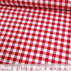Tecido Tricoline Mista Pop Textoleen Xadrez Grande - Vermelho - 50% Algodão 50% Poliéster - Largura 1,38m