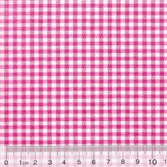 Tecido Tricoline Mista Pop Textoleen Xadrez Rosa Pink - 50% Algodão 50% Poliéster - Largura 1,38m