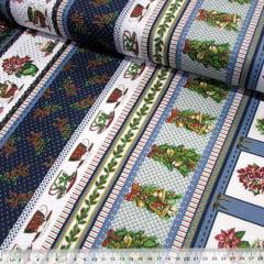 Tecido Tricoline Natal Barras - Enfeites - Azul