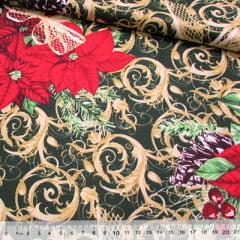Tecido Tricoline Natal - Flor Natalina Decor - Verde
