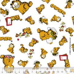 Tecido Tricoline Personagens F. Maluhy - Garfield e Oddie - 100% Algodão - Largura 1,50m