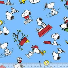 Tecido Tricoline Personagens F. Maluhy - Snoopy Blue - 100% Algodão - Largura 1,50m