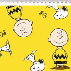 Tecido Tricoline Personagens F. Maluhy - Snoopy & Charlie Brown - 100% Algodão - Largura 1,50m