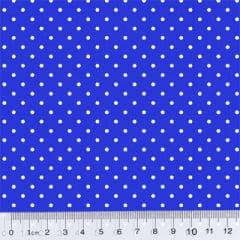 Tecido Tricoline Poá M - Fundo Azul Royal c/ Branco