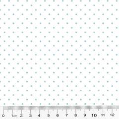 Tecido Tricoline Poá M - Fundo Branco c/ Azul - 100% Algodão - Largura 1,50m