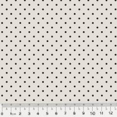 Tecido Tricoline Poá M - Fundo Bege c/ Marrom - 100% Algodão - Largura 1,50m