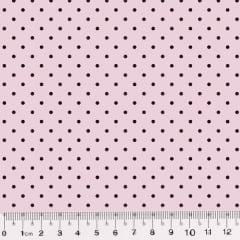 Tecido Tricoline Poá M - Fundo Rosa c/ Marrom - 100% Algodão - Largura 1,50m