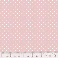 Tecido Tricoline Poá M - Fundo Rosa Nude c/ Branco - 100% Algodão - Largura 1,50m