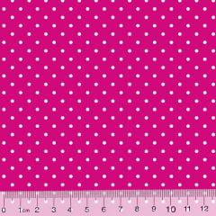Tecido Tricoline Poá M - Fundo Rosa Pink c/ Branco - 100% Algodão - Largura 1,50m