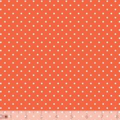 Tecido Tricoline Poá P - Fundo Laranja c/ Branco - 100% Algodão - Largura 1,50m
