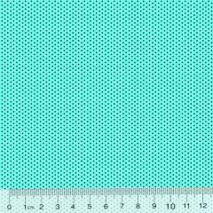 Tecido Tricoline Poá P - Fundo Turquesa c/ Marrom - 100% Algodão - Largura 1,50m
