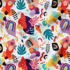 Tecido Viscose Coleção Especial Estampa Digital - Formas Design Colorido - 100% Viscose - Largura 1,45m