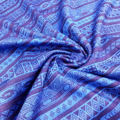 Tecido Viscose Light Estampada - Barrado Étnico Azul - Ref 43 - 100% Viscose - Largura 1,40m