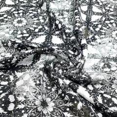 Tecido Viscose Light Estampada - Black Cosmic - Ref 39 - 100% Viscose - Largura 1,40m