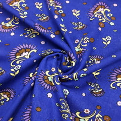 Tecido Viscose Light Estampada - Flores Ind. Azul - Ref 31 - 100% Viscose - Largura 1,40m