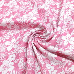 Tecido Viscose Light Estampada - Hibisco Rosa Claro - Ref 35 - 100% Viscose - Largura 1,40m