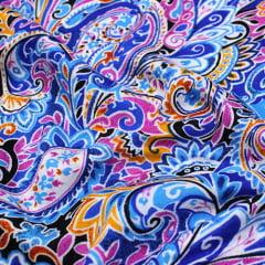 Tecido Viscose Light Estampada - Jardim da Índia - Azul - Ref 47 - 100% Viscose - Largura 1,40m