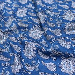 Tecido Viscose Light Estampada - Kash Blue - Ref 57 - 100% Viscose - Largura 1,40m