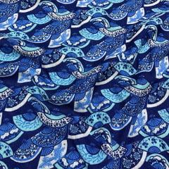 Tecido Viscose Light Estampada - Leques Azul - 100% Viscose - Largura 1,40m