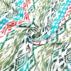 Tecido Viscose Light Estampada - Tribal Colorido Fundo Branco - Ref 15 - 100% Viscose - Largura 1,40m