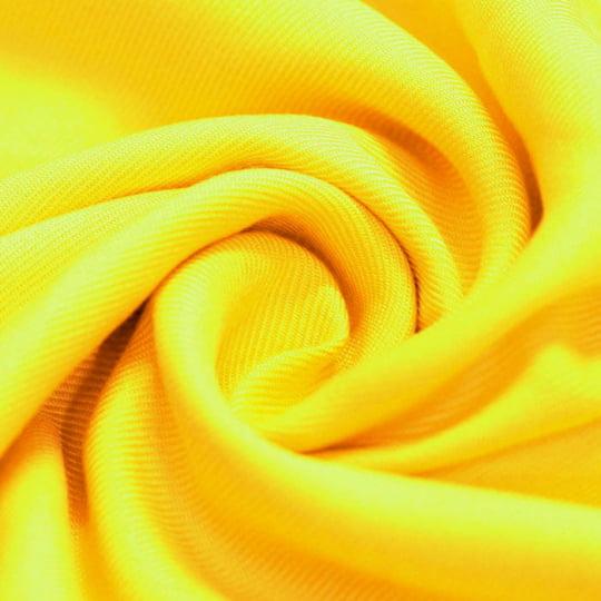 Tecido Viscose Lisa Sarjada Premium - Amarelo Solar Power - 100% Viscose - Largura 1,45m