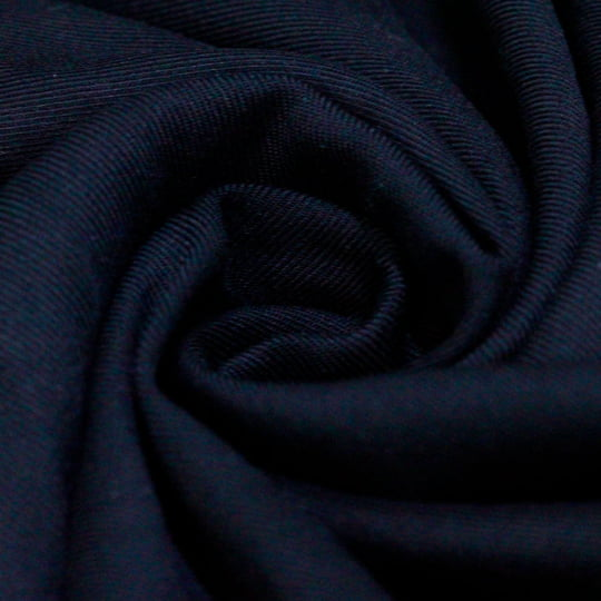 Tecido Viscose Lisa Sarjada Premium - Azul Navy - 100% Viscose - Largura 1,45m