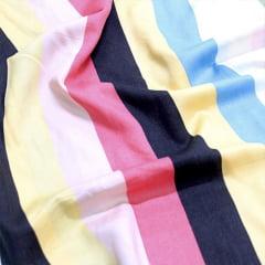 Tecido Viscose Premium Estampada - Color Stripes - 100% Viscose - Largura 1,50m