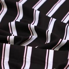 Tecido Viscose Premium Estampada - Listras Fashion - 100% Viscose - Largura 1,50m