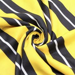 Tecido Viscose Premium Estampada - Yellow Stripes - 100% Viscose - Largura 1,50m