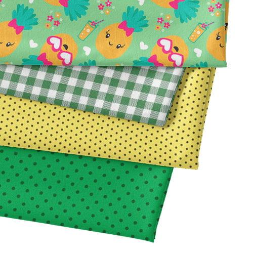 Kit Fat Quarter - Abacaxizinha - Verde (4 Cortes de 50 cm x 75 cm)