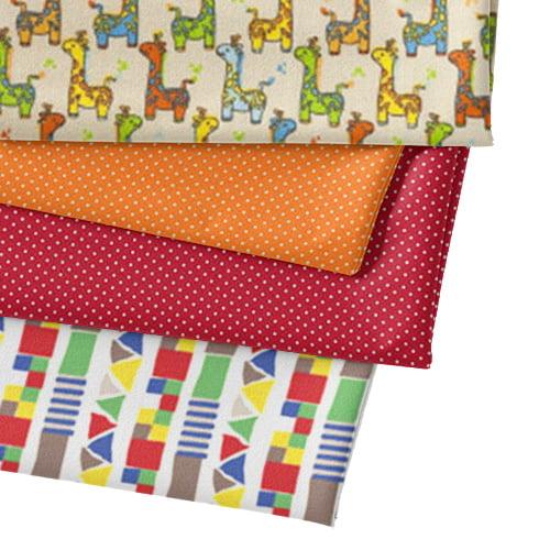 Kit Fat Quarter - Animais Multi Girafinha - Bege (4 Cortes de 50 cm x 75 cm)